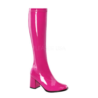 Funtasma 3″ Gogo Knee High Boots Patent Hot Pink