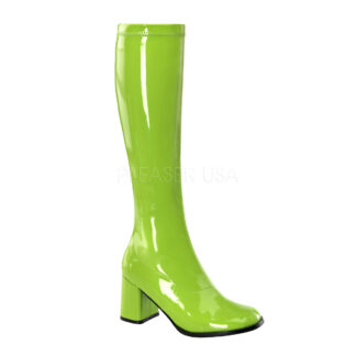 Funtasma 3″ Gogo Knee High Boots Patent Lime