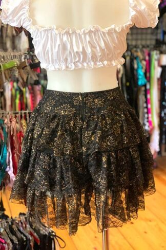 Gold Shimmer Lace Layered Ruffle Skirt Back