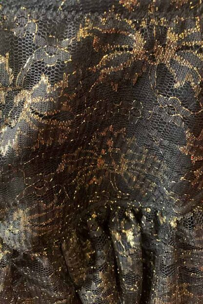 Gold Shimmer Lace Layered Ruffle Skirt Close