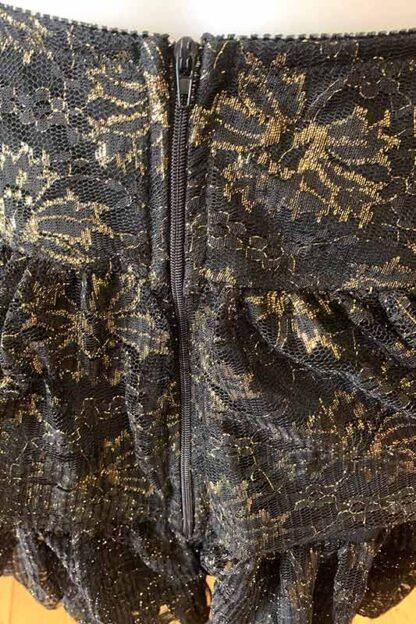 Gold Shimmer Lace Layered Ruffle Skirt Zip