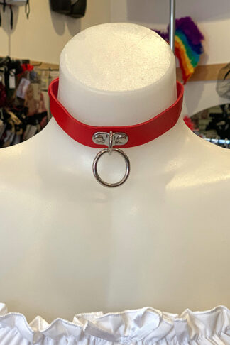 Hanging Ring Choker - Faux Leather- Red Front