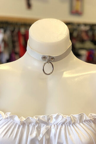 Hanging Ring Choker - Faux Leather- White Front