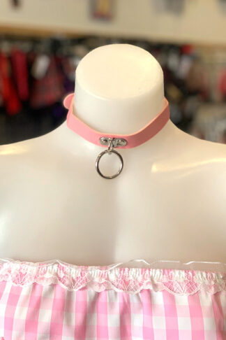 Hanging Ring Choker - Faux Leather- Baby Pink Front