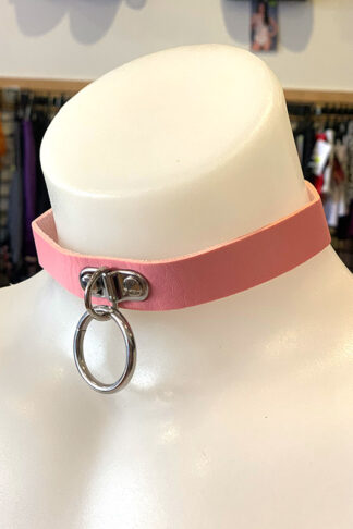 Hanging Ring Choker - Faux Leather- Baby Pink Side