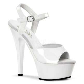 "Pleaser 6"" Kiss 209 Sandal Patent White"