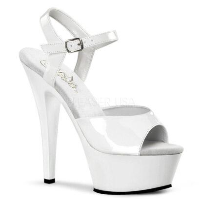 "Pleaser 6"" Kiss 209 Sandal Patent White"