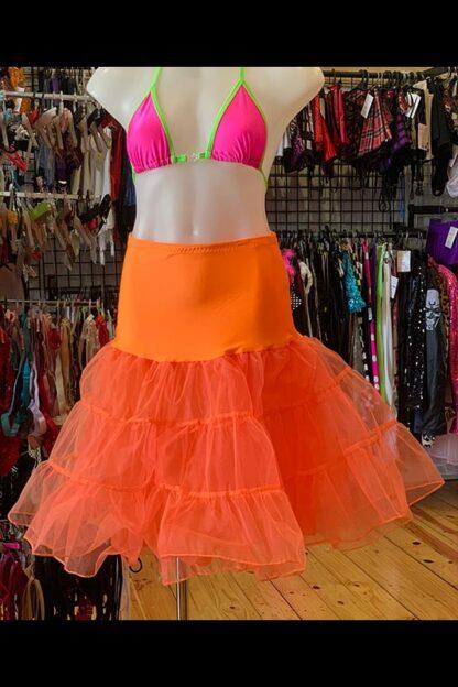 Long Layered Organza Petticoat - Orange