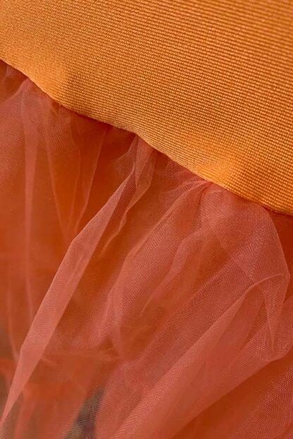Long Layered Organza Petticoat - Orange Close