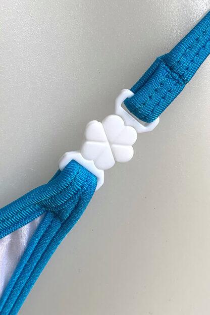 Siren Doll Micro Bikini Set - White & Ocean Blue Clip