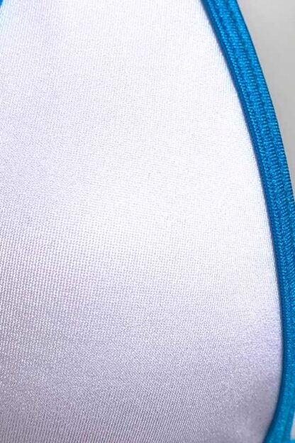 Siren Doll Micro Bikini Set - White & Ocean Blue Close