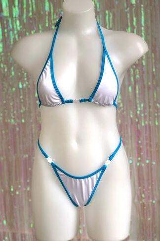 Siren Doll Micro Bikini Set - White & Ocean Blue Front