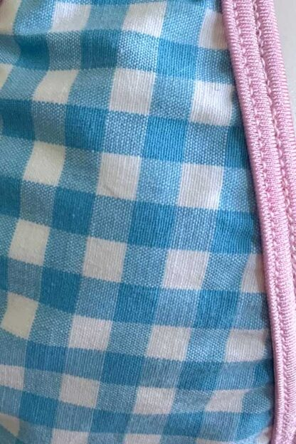Siren Doll Micro Cup Bikini Set - Gingham Baby Blue - Baby Pink Trim Close