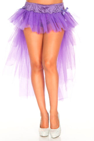 Multi Layer Tulle Burlesque Petticoat with Satin Bows Purple Front