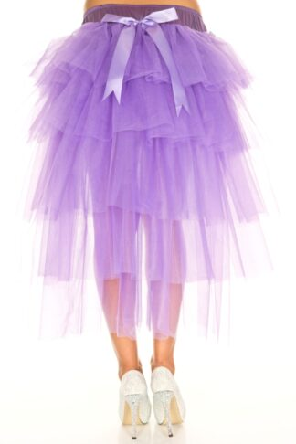 Multi Layer Tulle Burlesque Petticoat with Satin Bows Purple Back