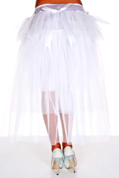 Multi Layer Tulle Burlesque Petticoat with Satin Bows White Back