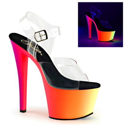 """Pleaser 7"""" Rainbow 308UV Clear Top with Ankle Strap Shoes"""