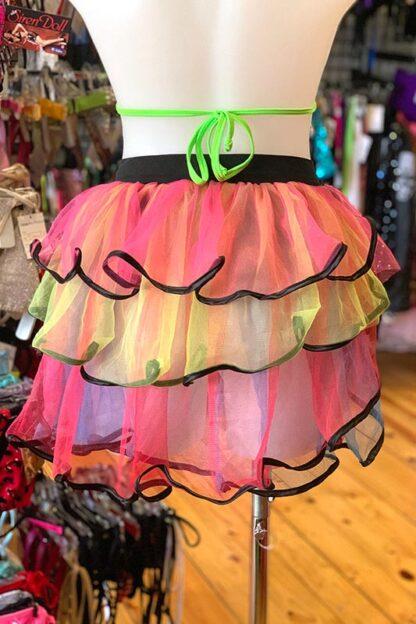 Rainbow with Black Trim Bustle Skirt Back