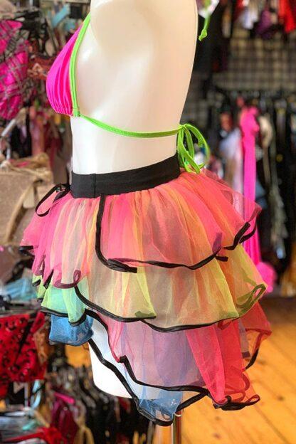 Rainbow with Black Trim Bustle Skirt Side