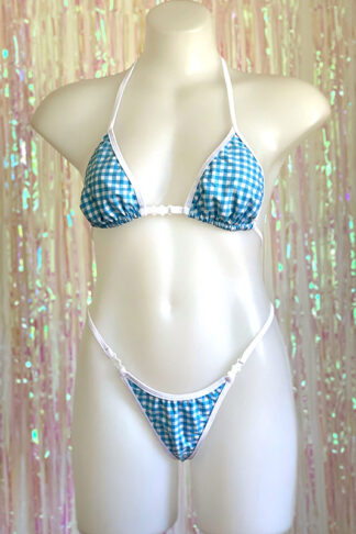 Siren Doll Small Cup Bikini Set - Gingham Baby Blue - White Trim Front