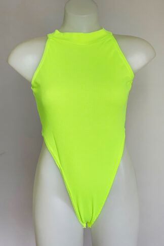 Cotton Like Bodysuit Neon Yellow Front