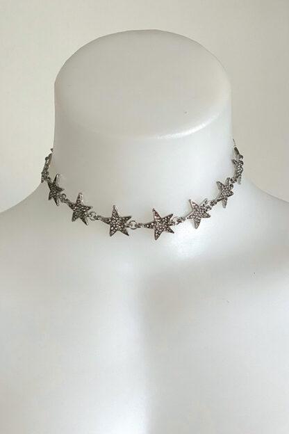 Rhinestone Stars Choker - Silver Front
