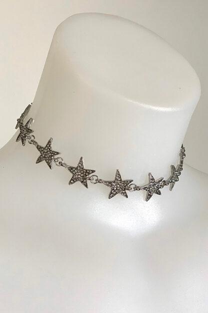 Rhinestone Stars Choker - Silver Side