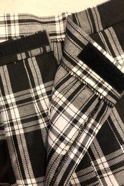 School Girl Tartan Pleated Velcro Mini Skirt - Black & White Close