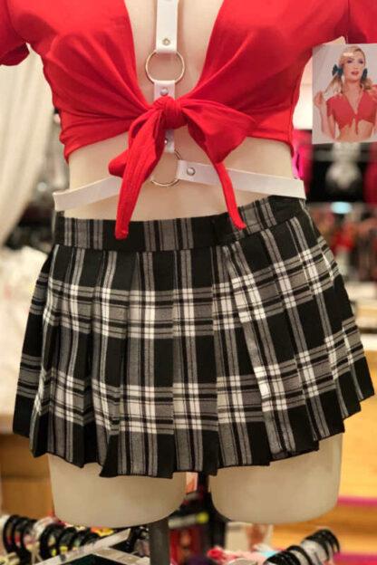 School Girl Tartan Pleated Velcro Mini Skirt - Black & White Front