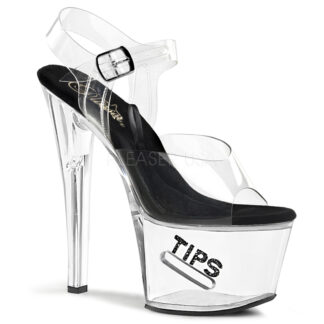 "Pleaser 7"" Tip Jar 708 Sandal - Clear Top Black Foot Clear Shoes"
