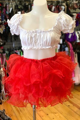 Tutu with Frills Skirt - Red Front